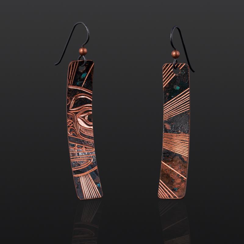"""Sun Earrings Jennifer Younger Tlingit copper 2"""" $160 northwest coast jewelry earrings"""