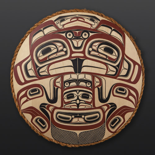"Sts'ool First Beaver David Boxley Tsimshian Yellow cedar, cedar rope, paint 31"" diameter 6000 northwest coast native art eagle"