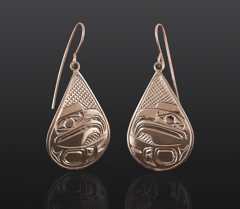Eagle Teardrop Earrings Bill Bedard Haida 14k gold $995