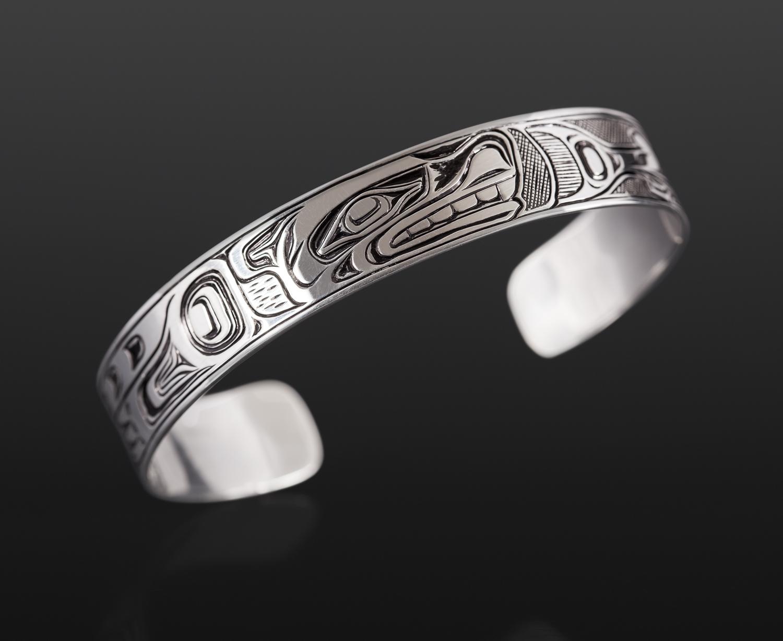 "Sea Lion & Salmon Bracelet Joseph Wilson Kwakwaka'wakw Silver 6"" x ½"" $350"