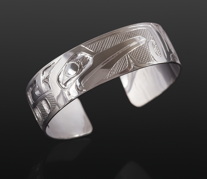 "Kingfisher Bracelet Henry Green Tsimshian Silver 6"" x ¾"" $550"