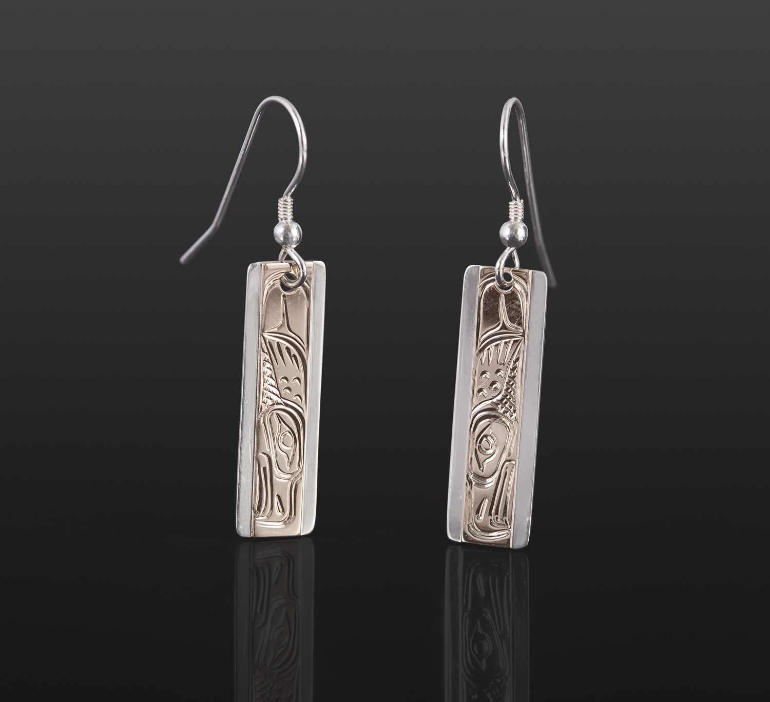 "Eagle Earrings Lloyd Wadhams Jr Kwakwaka'wakw Gold on silver 1"" $295"