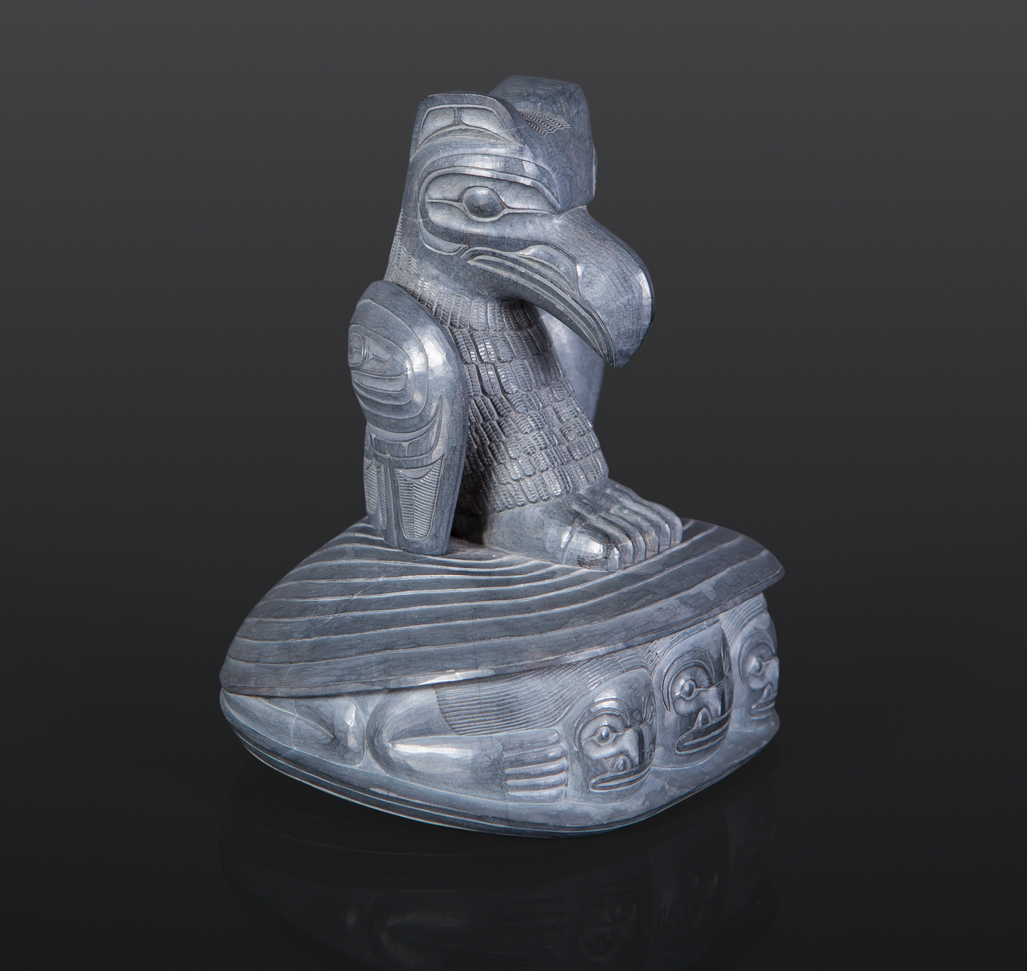 "Raven and Clam Shell Ed Russ Haida Argillite carving 4"" x 4"" x 5"" $6500"