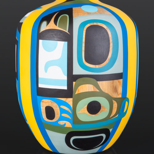 "The Spirit In All of Us Steve Smith Dla'kwagila Oweekeno Ponderosa pine, paint 18"" x 13"" x 12½"" $8000 modern art vase northwest coast"