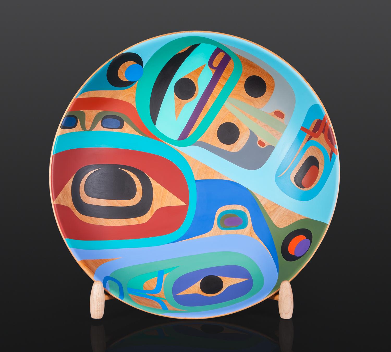 "Thunderbird and Raven Steve Smith Dla'kwagila Oweekeno Maple, paint 20"" x 11"" with stand $7000 bowl modern art"