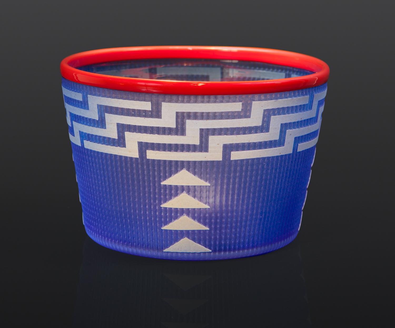 "Bright Blue Basket Preston Singletary Tlingit Blown & hand-carved glass 4"" x 6"" $3000 glass art seattle berry basket modern northwest coast"