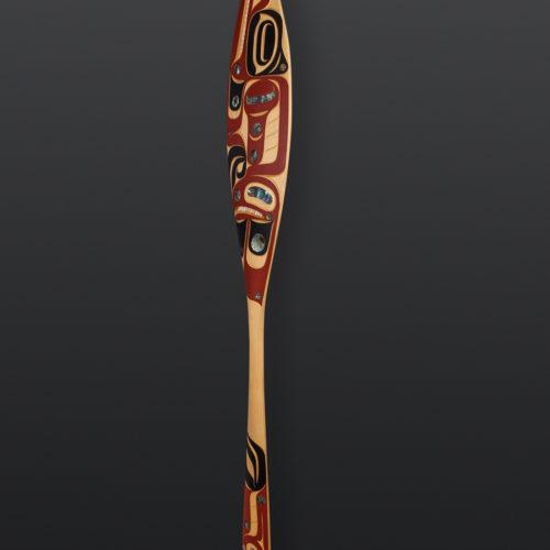 Thunderbird and Wolf Moy Sutherland Nuu chah nulth yellow cedar, paint, operculum, abalone 69