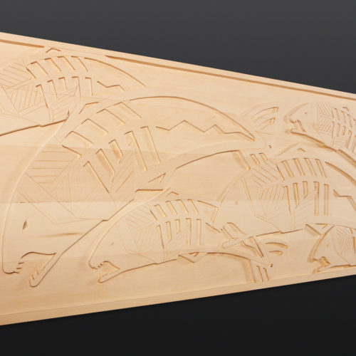 "First Salmon Panel Greg Robinson Chinook Yellow cedar 95½"" x 19"" x 2"" 7800 chinookan art northwest coast salmon chinuk art"