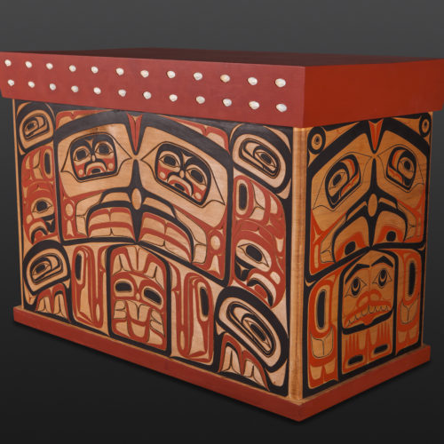 "Bentwood Chest David Boxley Tsimshian Carved cedar, shell, paint 17"" x 33¾"" x 25¼"" $18000 northwest coast bentwood box"