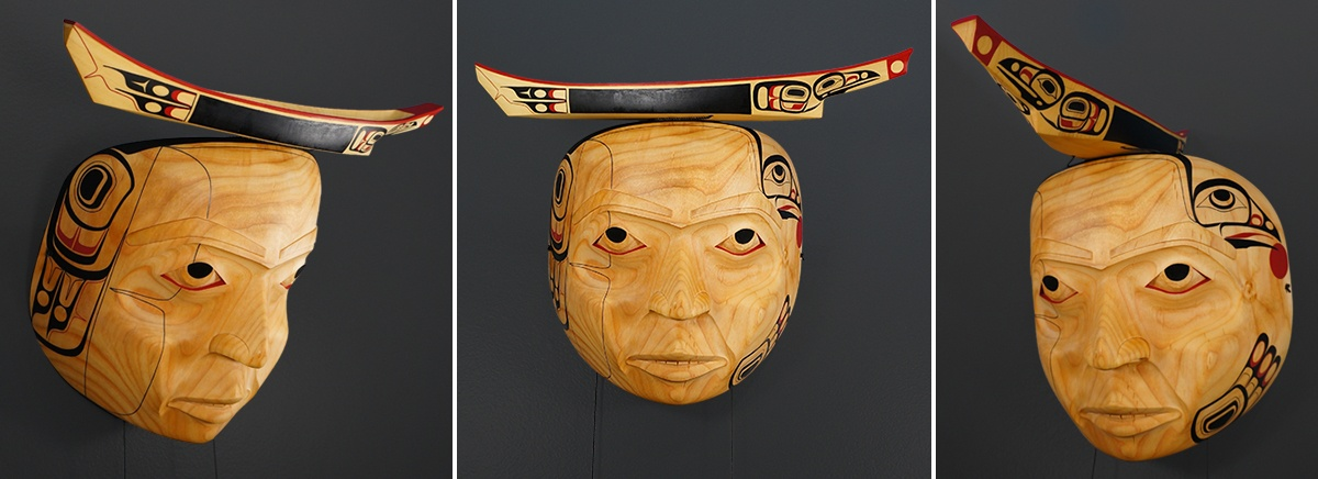Halait (Raven's Journey) Shawn Aster Tsimshian Alder yellow cedar leather paint cord 14 x 14 x 9 $4000