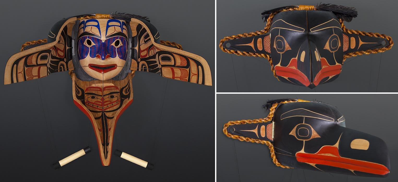 "Lusanaaxgitas Txamsem David Boxley Tsimshian raven tranformation Red cedar, yellow cedar, cedar bark rope, paint, twine, feathers 23"" x 21"" x 14"" $14000"