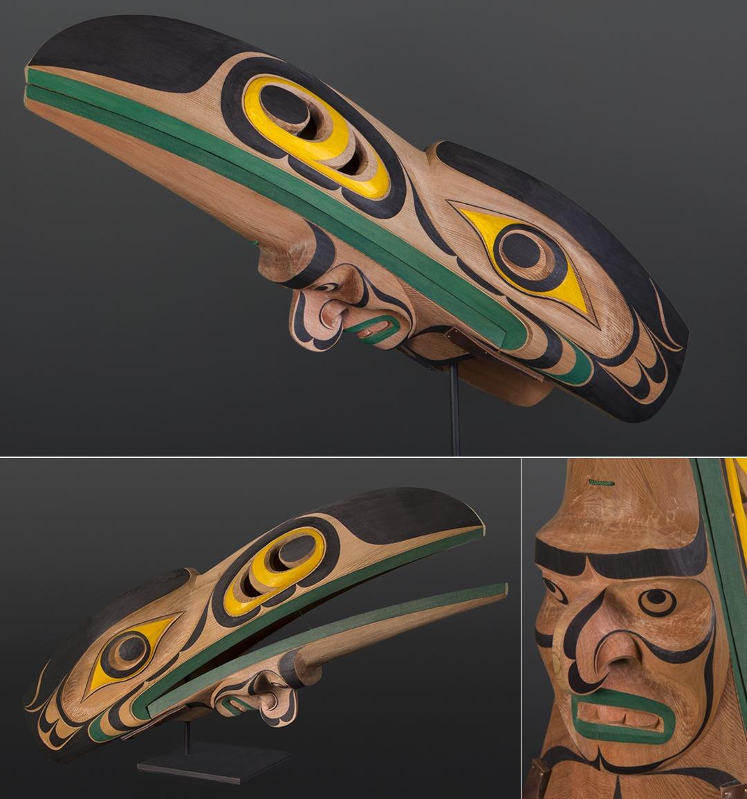 Raymond Shaw Kwakwaka'wakw Raven Headdress Red cedar, paint twine 30 x 10 x 12 $5200
