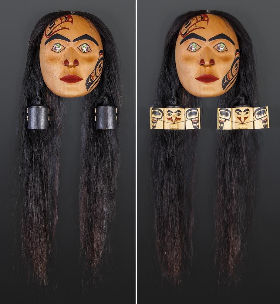 "Ernest Swanson Haida Red cedar, yellow cedar, horsehair, paint, twine, abalone 18"" x 16"" x 5"" Grandmother Lagaa'nang Jaad Feasting Woman Ernest Swanson Haida Grandmother mask articulated $7500"