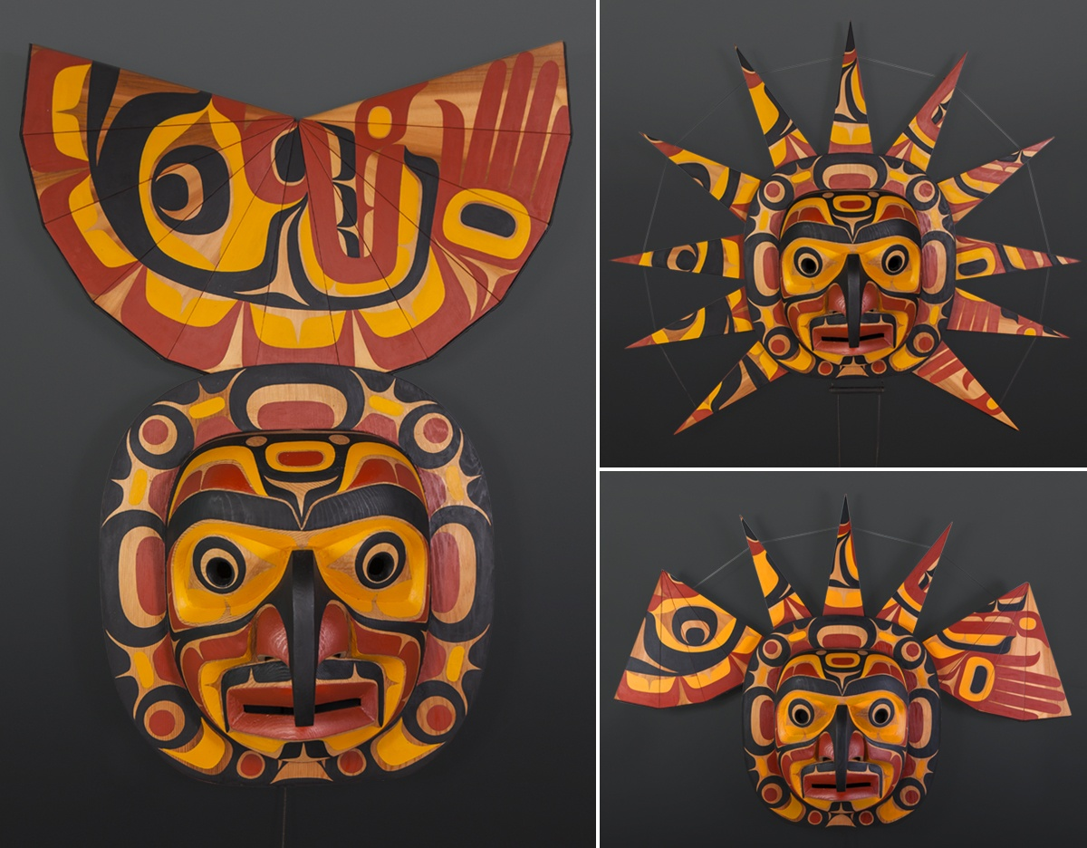 "John Livingston Adopted Kwakwaka'wakw Red cedar, paint, twine 42"" x 38"" x 10"" Sold"