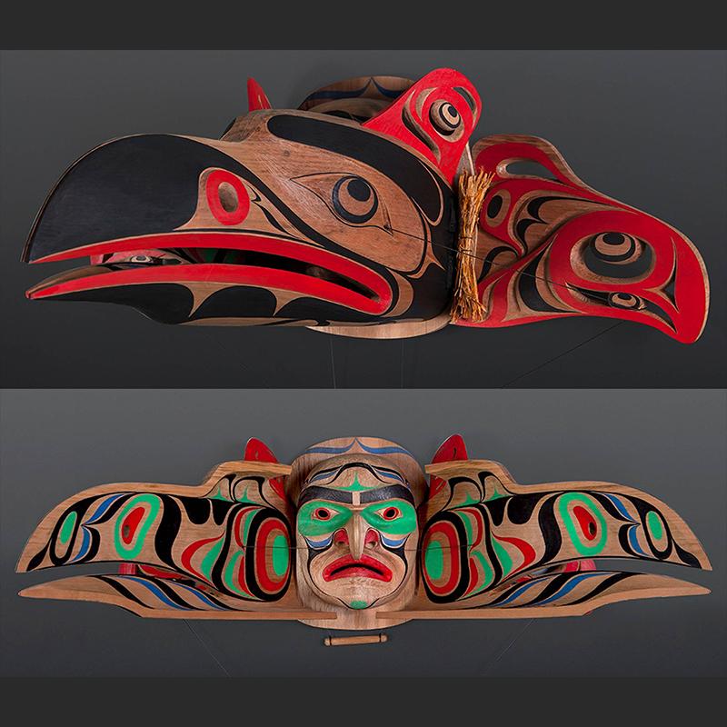 Raymond Shaw Kwakwakawakw raven salmon transformation articulated Red cedar paint cedar bark 34 x 24 x 14 $7500