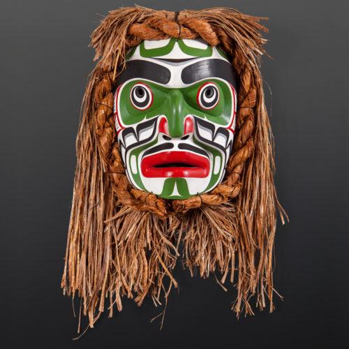 "kumugwe mask 1998 stephen bruce kwakwaka'wakw red cedar, paint, cedar bark 23"" x 15"" x 8"" 6000"