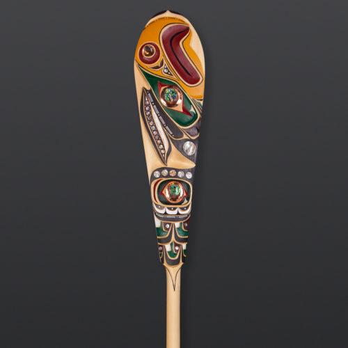 eagle paddle troy roberts kwakwaka'wakw yellow cedar, copper, paint, abalone 72 x 7 1/2 4600