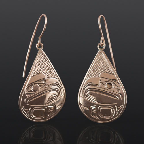 Eagle Teardrop Earrings Bill Bedard Haida 14k gold $995