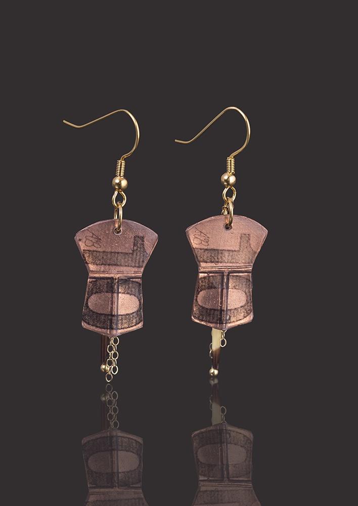 "Ten copper earrings Alison Bremner Tlingit Copper Earrings with porcupine quills 1 ½""L X ¾""W"
