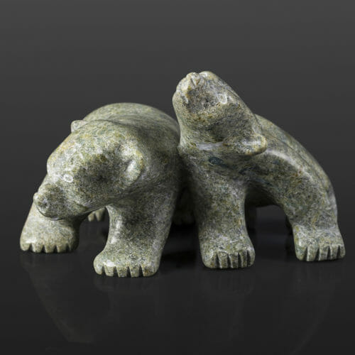 "Bear Siblings Johnny Papigatuk Inuit Serpentine 5¼"" x 4½"" x 3"" $450 stone sculpture cape dorset arctic"