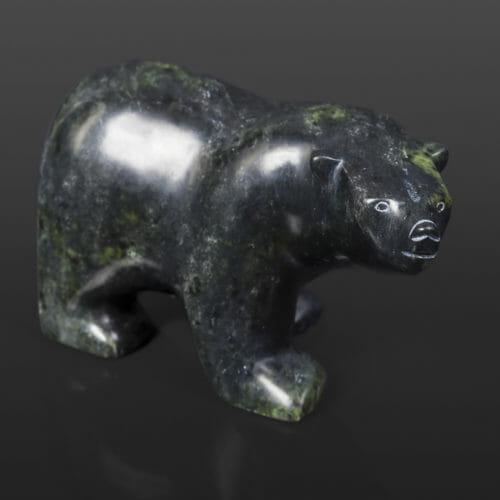 "Polar Bear Joanie Ragee Inuit Serpentine 8"" x 3"" x 3 ½"" $585 cape dorset stone sculpture arctic"