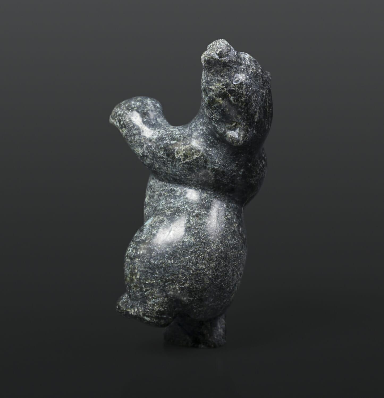 "Dancing Polar Bear Markusie Papigatuk Inuit Serpentine 3½"" x 3½"" x 5½"" $400 arctic sculpture cape dorset stone"
