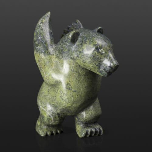 """Polar Bear Stretch Parr Parr Inuit Serpentine 3½"""" x 6"""" x 6½"""" $390 arctic stone cape Dorset stone sculpture"""