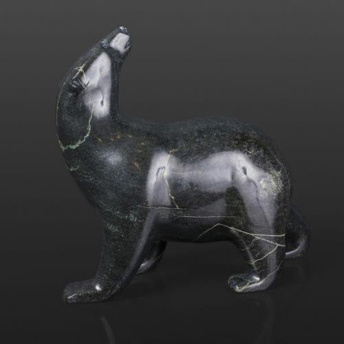 "Polar Bear Looks Back Timothy Pii Inuit Serpentine 6"" x 2 ½"" x 5 ¼"" $700 stone sculpture cape dorset"