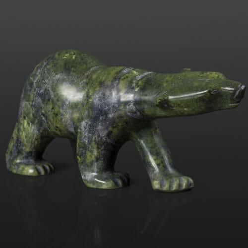 "Polar Bear Quaraq Nungusuituk Inuit Serpentine 8 ½"" x 3"" x 3 ½"" $675 arctic bear stone sculpture cape dorset"