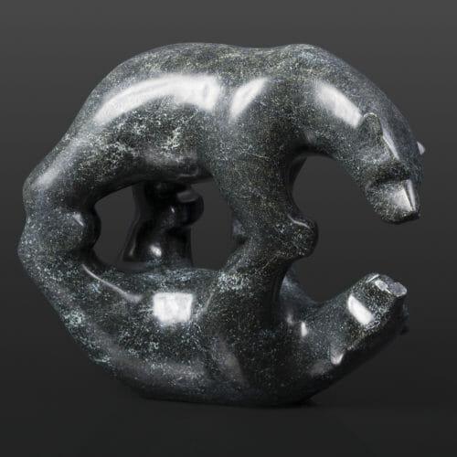 "Bear and Shadow Tony Ohotaq Inuit Serpentine 8½"" x 3½"" x 6½"" $1280 Cape Dorset stone sculpture"