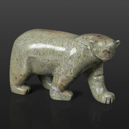 "Smiling Bear Pauloosie Tunillie Inuit Serpentine 6 ½"" x 3"" x 4"" $600 stone sculpture Cape Dorset"