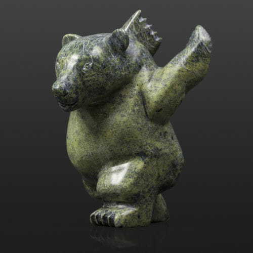 "Polar Bear Stretch Parr Parr Inuit Serpentine 3½"" x 6"" x 6½"" $390 arctic stone cape Dorset stone sculpture"