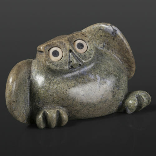 "Chubby Chick Joanasie Manning Inuit Serpentine 6 ½"" x 3"" x 2"" $400 owl chick stone sculpture Cape Dorset"