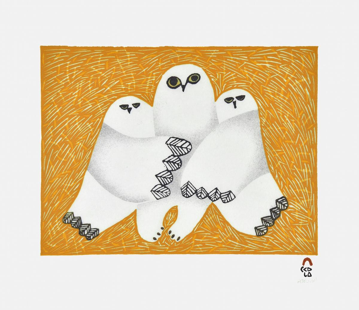 Cuddle Cape Dorset Print Collection 2015 Artist: Ningeokuluk Teevee Medium: Stonecut & Stencil Paper: Handmade Washi Kizuki Kozo White Printer: Tapaungai Niviaqsi Size: 11 x 13 inches (28 x 32.5 cm) Price: $500