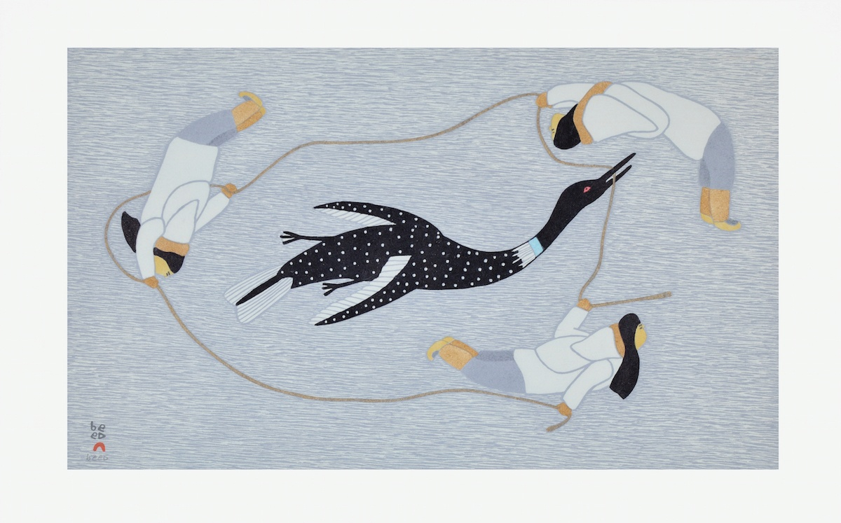 CHASING THE LOON Cape Dorset Print Collection 2015 QAVAVAU MANUMIE Medium: Stonecut & Stencil Paper: Handmade Washi Kizuki Kozo White Printer: Qavavau Manumie Size: 15 ¼ x 24 inches (38.5 x 60.8 cm) Price $700