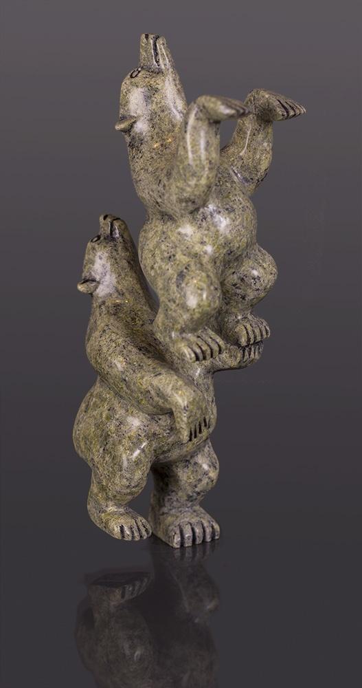 "A Balancing Act Mosesee Pootoogook Cape Dorset Serpentine sculpture Serpentine 7"" x 2 ½"" x 2"""