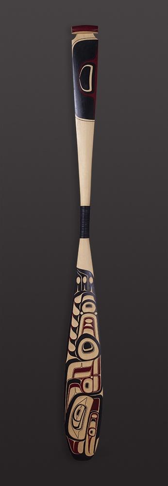 "'Xsgyiik' Eagle Paddle Shawn Aster - Tsimshian Yellow cedar, paint 61"" x 6"" $2800"