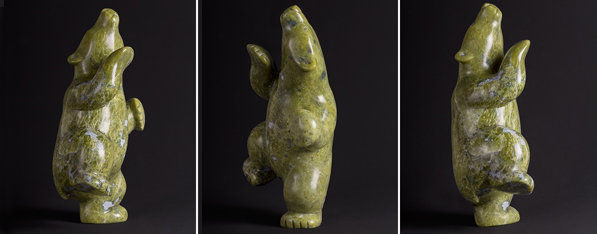 "dancing bear Markoosie Papigatuk Inuit Serpentinite 10"" x 6"" x 4"""