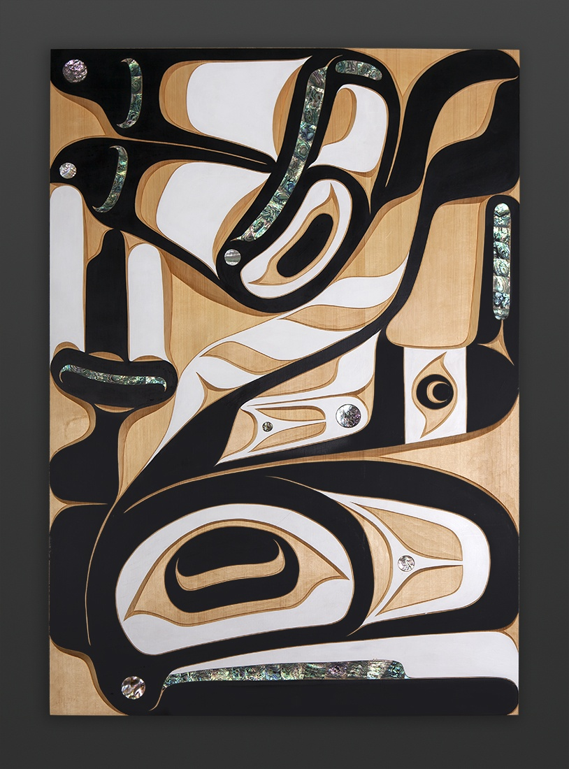 orca panel Moy Sutherland Nuu-Chah-Nulth orca Yellow cedar abalone paint 28 x 42 9500