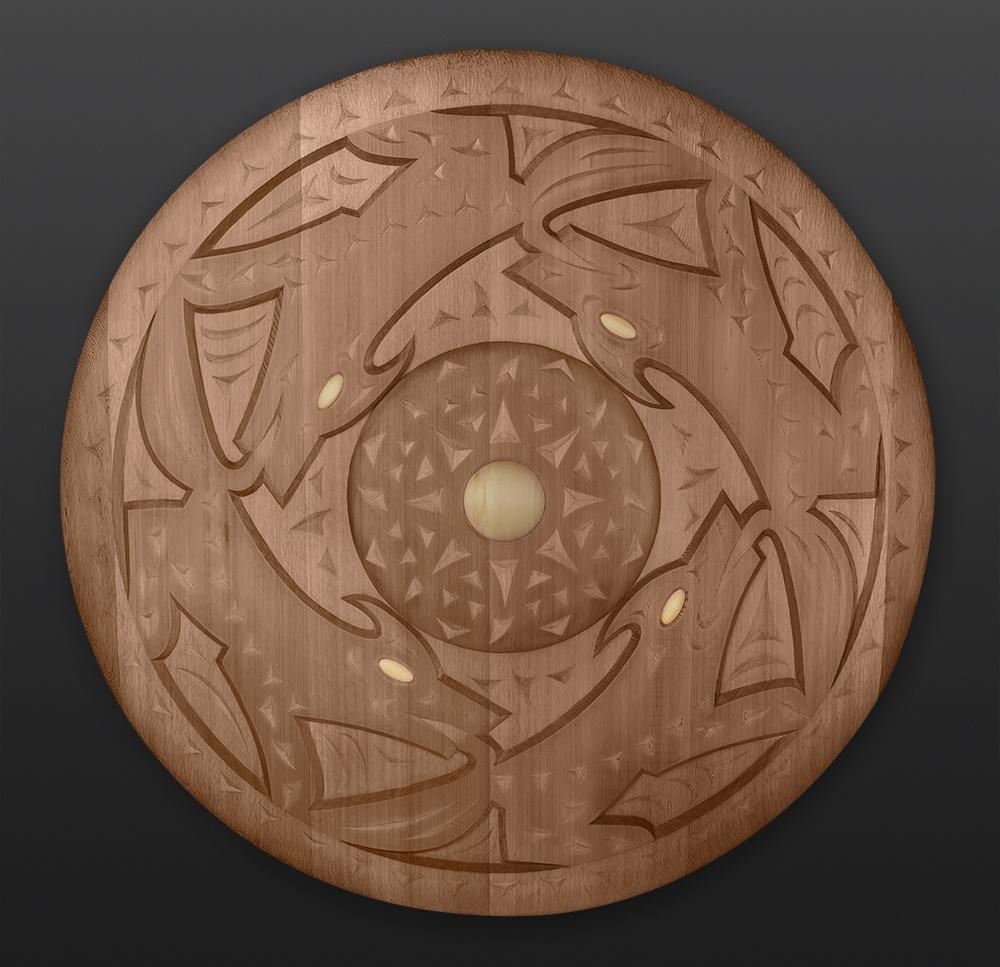 "moon dance Susan Point Coast Salish wolf wolves Red cedar, yellow cedar 48"" dia. Moon Dance $11000"