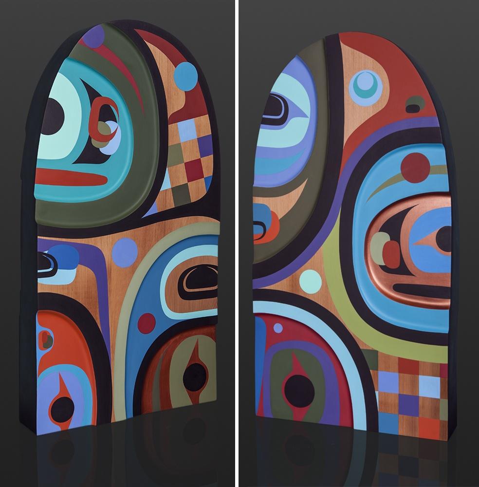 """family Steve SMith - Dla'kwagila Oweekeno family dorsal sculpture $6400 Red cedar, paint 30"""" x 16"""" x 4"""""""