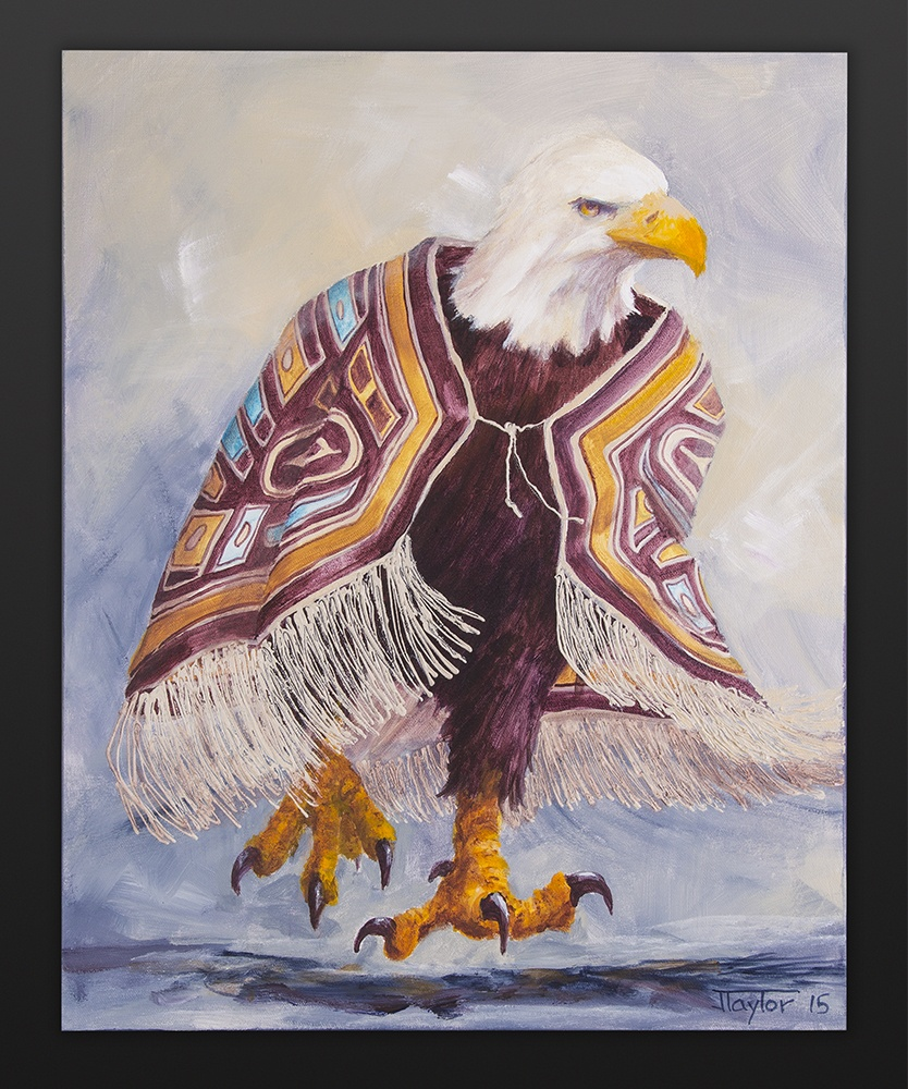 Fierce Dancer Jean Taylor Tlingit Acrylic on canvas 16 x 20 $800 eagle chilkat northwest coast