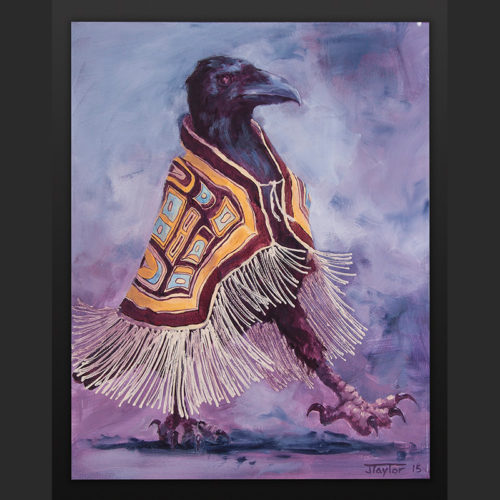 Off To The Dance Jean Taylor Tlingit Acrylic on canvas 16 x 20 $800 crow chilkat