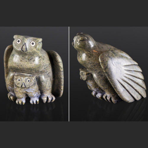 "mother owl Joanasie Manning Inuit owl mother Serpentine, bone, baleen 10"" 10"" x 9"" $2000"