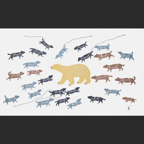 POLAR BEAR IN CAMP Cape Dorset Print Collection 2015 PAPIARA TUKIKI Medium: Stonecut & Stencil Size: Paper Handmade Washi Kizuki Kozo White Printer: Qavavau Manumie Size: 24 ½ x 39 ½ inches (62 x 99.5 cm) Price: $1200