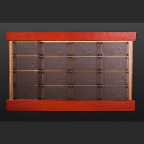 "salmon box panel John Goodwin - Nytom Makah cedar salmon box Red cedar, glass, paint 55"" x 34"" $3000"