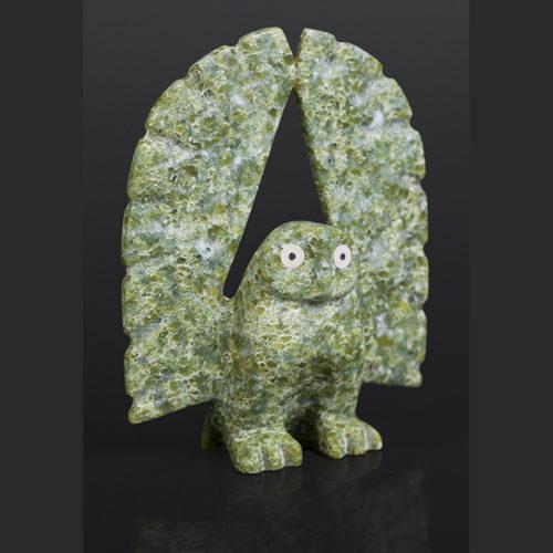 "Wings Up Adamie Quamagiaq Inuit Serpentine, ivory, baleen 6 ½"" x 5"" $425"