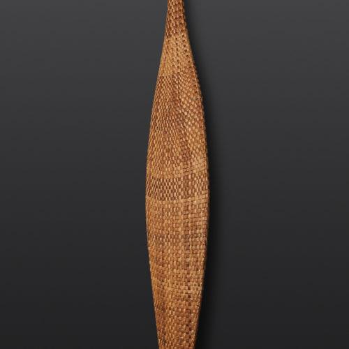 """Threading Past to Present Woven Cedar Paddle Paul Rowley Tlingit/Haida Cedar, woven cedar bark 64½"""" x 7½"""" x 1"""" $4200"""