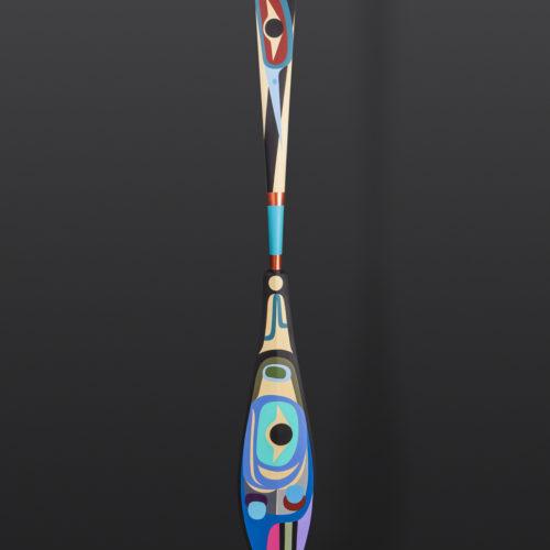 "Herons Paddle Steve Smith Dla'kwagila Oweekeno Yellow cedar, paint 67¾"" x 7"" x 1"" $4400"
