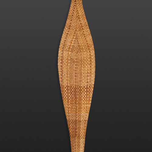"Threading Past to Present II Woven Cedar Paddle Paul Rowley Tlingit/Haida Cedar, woven cedar bark 63½"" x 7"" x 1"" $4200"